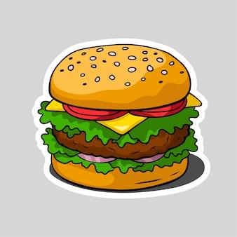Ilustración de hamburguesa en estilo de dibujos animados