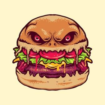 Ilustración de hamburguesa de monstruo