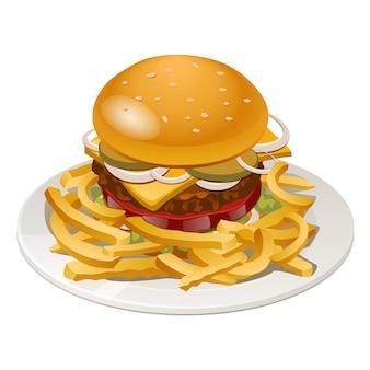 Ilustración de hamburguesa con papas fritas, tomate, cebolla y queso