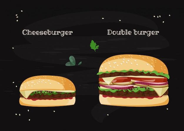 Ilustración de hamburguesa con queso y hamburguesa doble