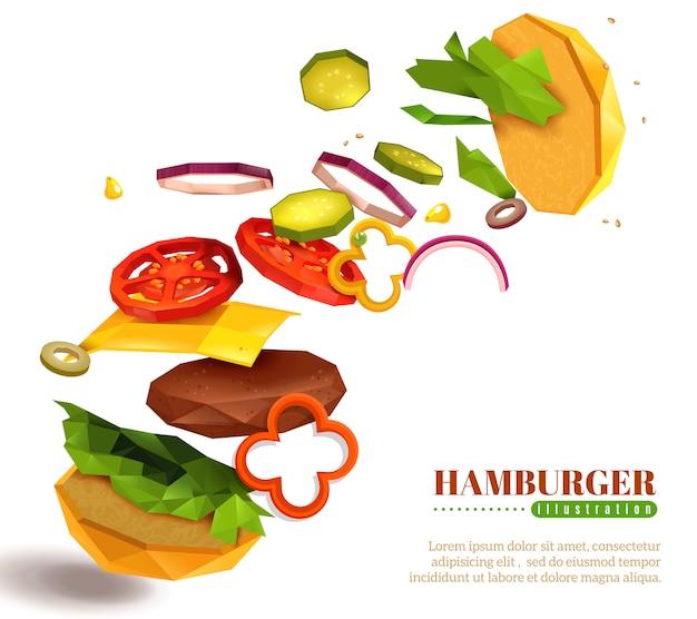 Ilustración de hamburguesa voladora 3d