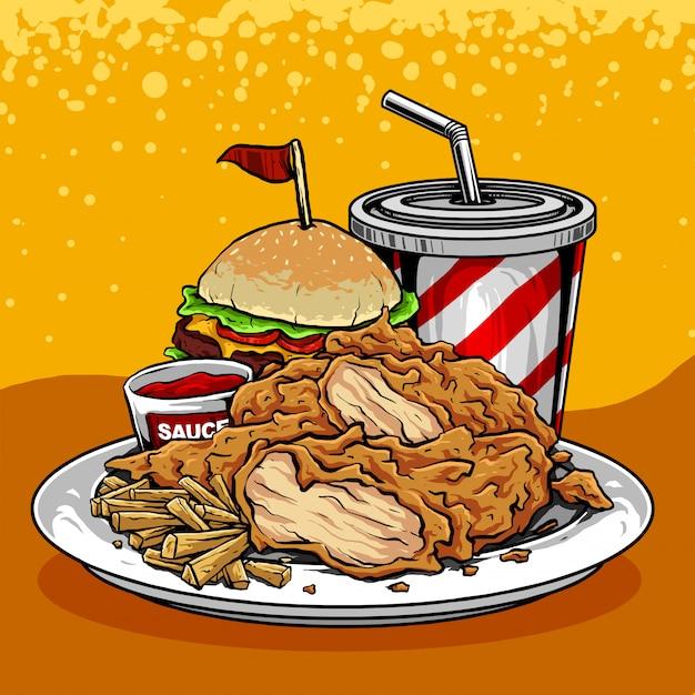 Ilustración de hamburguesas, papas fritas y refrescos