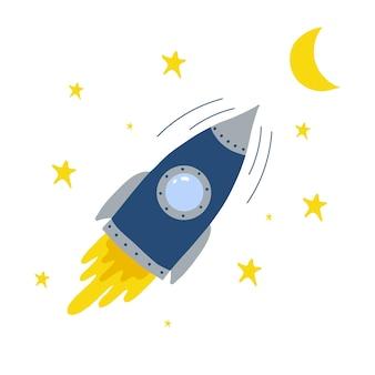 Ilustración de handdrawn para niños de un cohete volador ilustración de un cohete despegando en el espacio