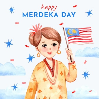 Ilustración de hari merdeka de acuarela pintada a mano