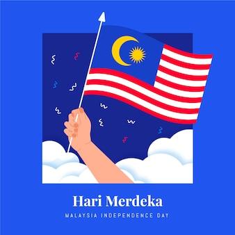 Ilustración de hari merdeka plana