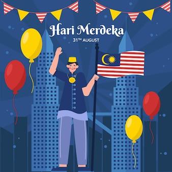 Ilustración de hari merdeka