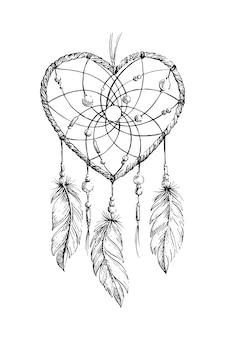 Ilustración del heartcat del dreamcatcher
