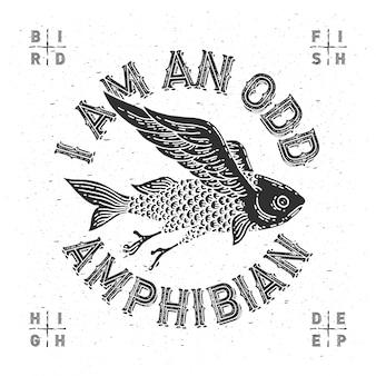 Ilustración hecha a mano de pez volador