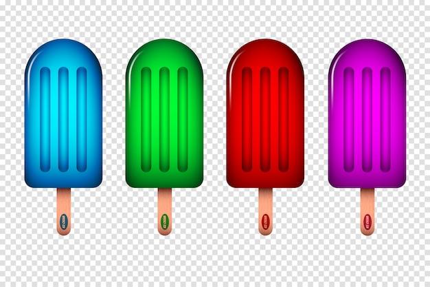 Ilustración de helado con diferentes colores.