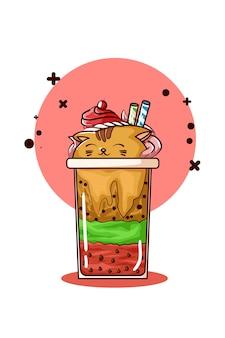 Ilustración de helado en forma de gato