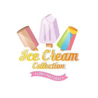Ilustración de helado. helado de helado en el fondo. set de helados.
