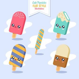 Ilustración de helado kawaii popsicles lindo