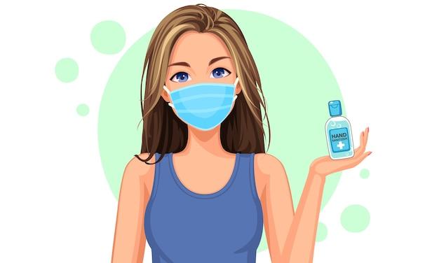 Ilustración de una hermosa adolescente con máscara y mostrando una botella de desinfectante