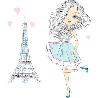 Ilustración hermosa chica de moda en parís