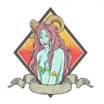 Ilustración hermosa dama bruja