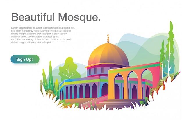 Ilustración hermosa mezquita con plantilla de texto