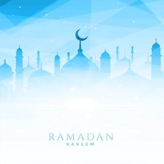 Ilustración hermosa mezquita para ramadan kareem