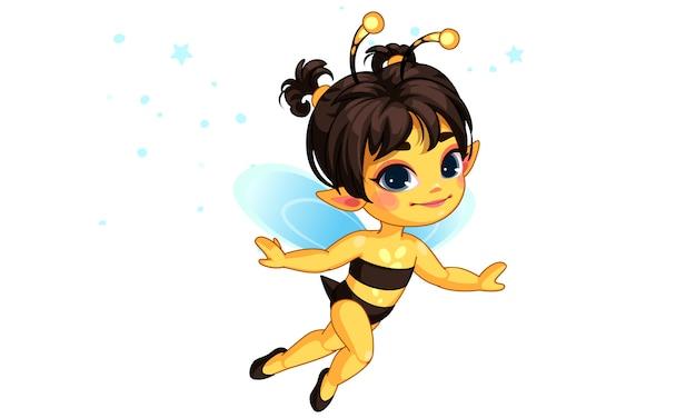 Ilustración de hermosa miel abeja hada vector