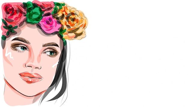 Ilustración, hermosa mujer con maquillaje y corona floral en la cabeza.