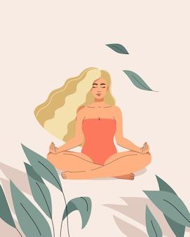 Una ilustración de una hermosa mujer rubia sentada en una posición de loto sobre un fondo claro de arena en un arbusto tropical
