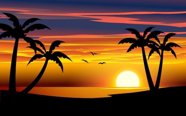 Ilustración hermosa playa puesta de sol