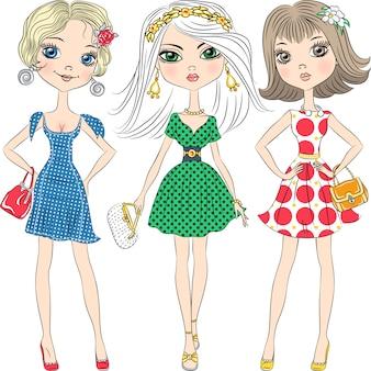 Ilustración hermosas chicas de moda top models