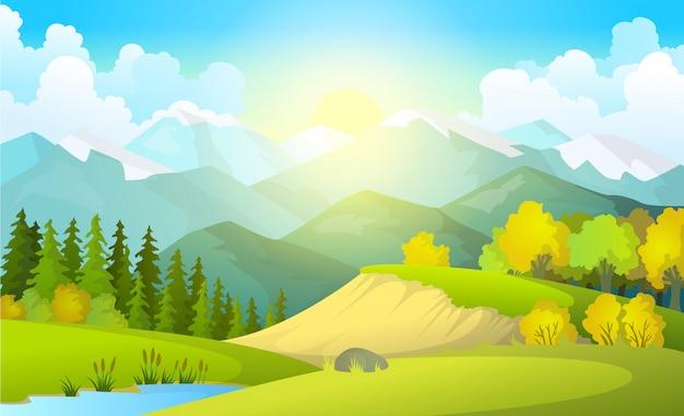 Ilustración del hermoso paisaje de campos de verano con un amanecer