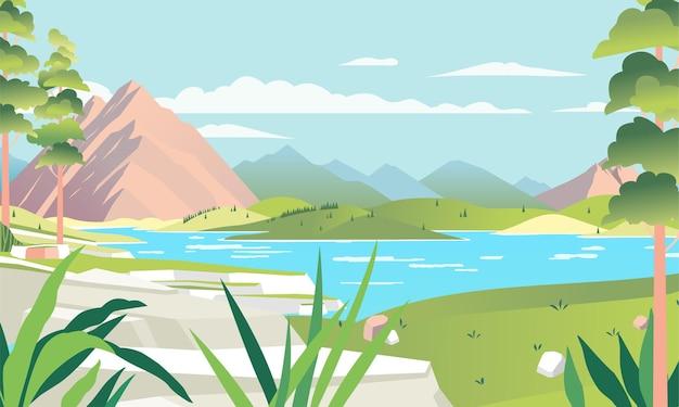 Ilustración de hermoso paisaje con lago montañoso y amplia colina verde utilizada para imagen de póster, imagen de sitio web y otros