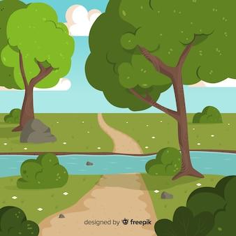 Ilustración de hermoso paisaje natural con grandes árboles