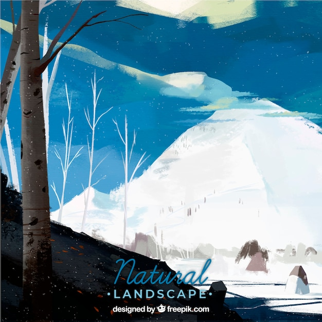 Ilustración de hermoso paisaje natural con montañas