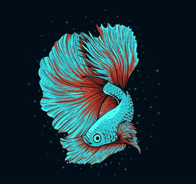 Ilustración hermoso pez betta sobre fondo negro