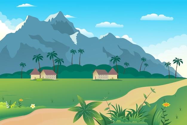 Ilustración de un hermoso pueblo de verano en las colinas