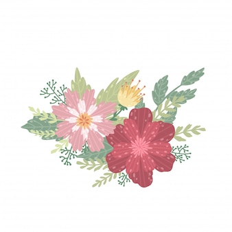 Ilustración de un hermoso ramo. la flor sobre un fondo blanco.