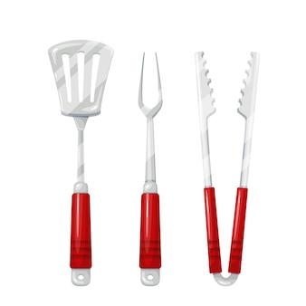Ilustración de herramientas de barbacoa. pinzas, tenedor para trinchar, espátula para asar.