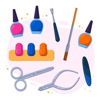 Ilustración de herramientas de manicura de diseño plano