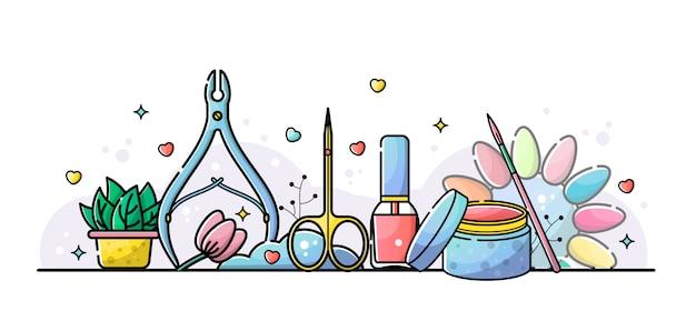 Ilustración de herramientas de manicura y salón de uñas