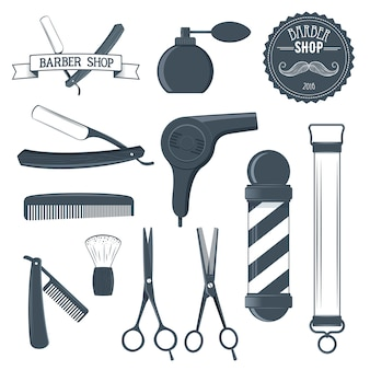 Ilustración de herramientas de peluquería vintage y elemento de diseño