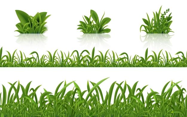Ilustración de hierba verde realista