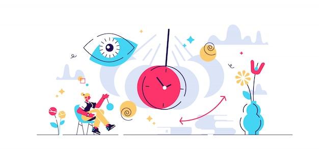 Ilustración de hipnosis pequeño concepto de personas de condición de terapia. estado mental alterado o efecto de trance. conciencia condición médica alternativa. rotación abstracta y símbolos de hidromasaje.