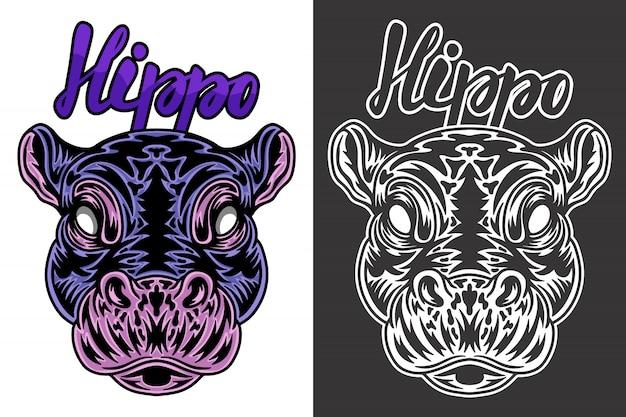 Ilustración de hipopótamo vintage