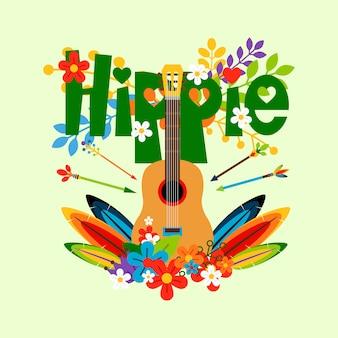 Ilustración hippie con guitarra y flores.