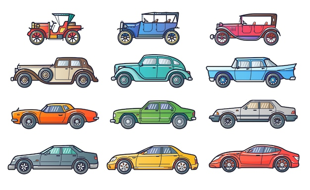 Ilustración de la historia del coche en estilo moderno de línea plana. evolución con coches retro y de época. arte lineal.