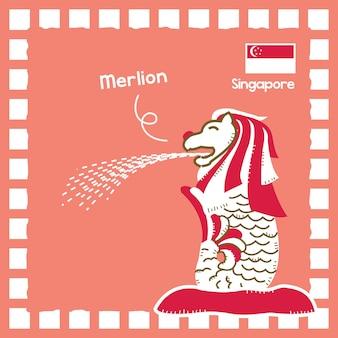 Ilustración de hito de merlion de singapur con lindo diseño de sello