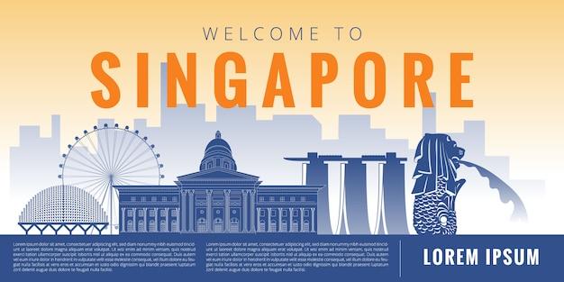 Ilustración de hito de singapur