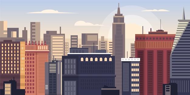 Ilustración de hitos del horizonte de la ciudad