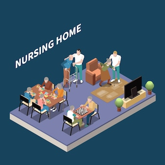 Ilustración de hogar de ancianos isométrica