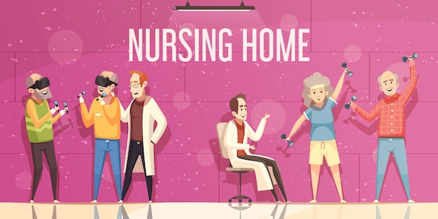 Ilustración de hogar de ancianos