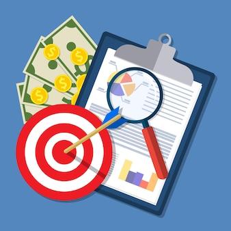 Ilustración de hoja de cálculo. portapapeles con informes financieros, objetivo, dinero y lupa.