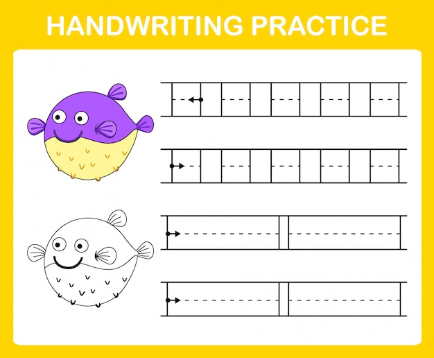 Ilustración de hoja de práctica de escritura a mano