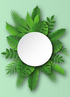 Ilustración de hojas tropicales de papel